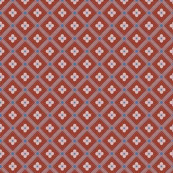 LIBERTY OF LONDON Quilting cotton, Manor Tile Y in Red, ELEGANTE VIRGULE