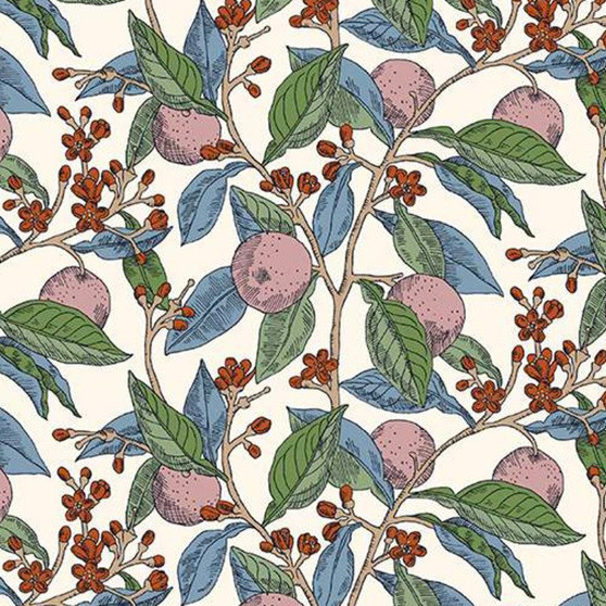 LIBERTY OF LONDON Quilting cotton, Conservatory Fruits Z in Pink, ELEGANTE VIRGULE, Canadian Fabric Shop