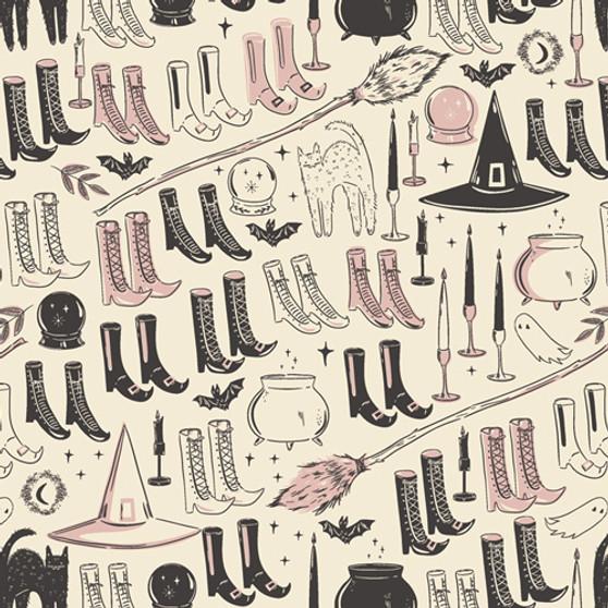 AGF ART GALLERY FABRIC - SPOOKY 'N SWEET, Witch's Wardrobe - by the half-meter, ELEGANTE VIRGULE, Canadian Fabric Shop