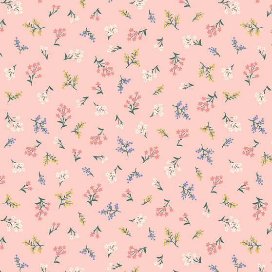 RIFLE PAPER CO, Strawberry Fields PETITES FLEURS in Blush,  ELEGANTE VIRGULE CANADA, CANADIAN FABRIC SHOP