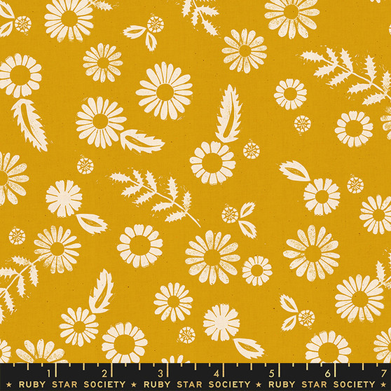 RUBY STAR SOCIETY, GOLDEN HOUR Daisy in Goldenrod,  ELEGANTE VIRGULE, CANADIAN FABRIC SHOP