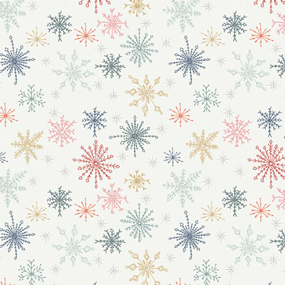 ART GALLERY FABRICS Cozy and Joyful, MAKE SNOW FLURRIES - by the half-meter, ELEGANTE VIRGULE, Canadian Fabric Shop