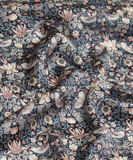 LIBERTY OF LONDON - STRAWBERRY THIEF L Grey 100% Cotton Tana Lawn, Per Half-Meter. Elegante Virgule Canada, CANADIAN FABRIC SHOP. Quilt Shop