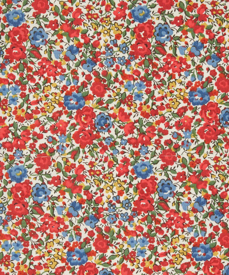 LIBERTY OF LONDON - EMMA & GEORGINA C Multi Red / Blue 100% Cotton Tana Lawn, Per Half-Meter. CANADIAN SHOP. LIBERTY IN CANADA - Elegante Virgule, Quilting Shop