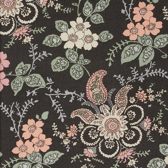 LIBERTY OF LONDON Quilting cotton, Fireside Y in Charcoal, Pink and Green - ELEGANTE VIRGULE CANADA, Canadian Quilt Shop, Quilting cotton