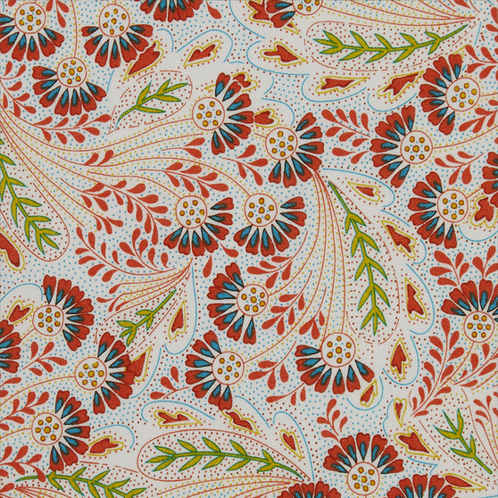 LIBERTY OF LONDON - THE SUMMER HOUSE, Feather Dance Y in Green and Orange, ELEGANTE VIRGULE CANADA, Canadian Quilt Fabric Shop, Quilting cotton