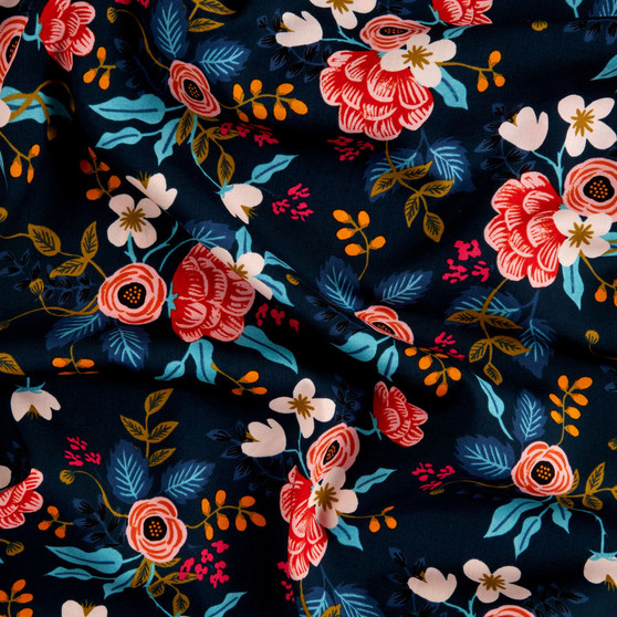 RIFLE PAPER CO, Les Fleurs BIRCH FLORAL in Navy 100% RAYON,  ELEGANTE VIRGULE CANADA, CANADIAN FABRIC SHOP, Quilting Shop