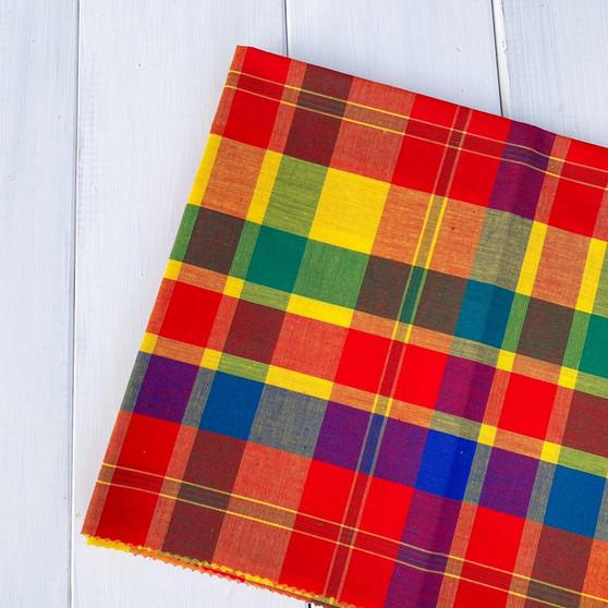 HIBISCUS Madras 100% cotton, Width 60 inches (150 cm), Per Half-Meter, CANADIAN SHOP.  Elegante Virgule Canada, Quilt Shop