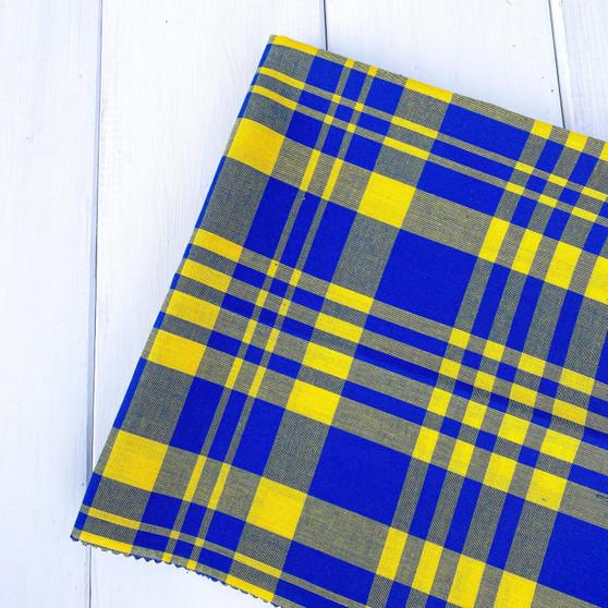 MACAW Blue & Yellow Madras 100% cotton, Width 60 inches (150 cm), Per Half-Meter, CANADIAN SHOP.  Elegante Virgule Canada, Quilt Shop