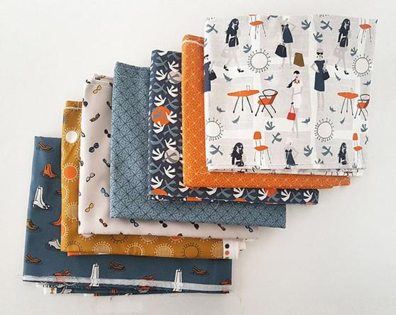 CLOUD 9, LISBON SQUARE - Bundle of 7 fabrics - 100% ORGANIC Cotton - by the half-meter, ELEGANTE VIRGULE, CANADIAN FABRIC SHOP, QUILTING COTTON