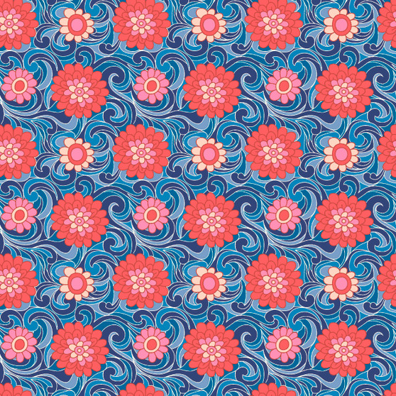 LIBERTY FABRICS, CARNABY COLLECTION Retro Indigo - Carnation Carnival A Navy - by the half-meter - ELEGANTE VIRGULE CANADA, Canadian Quilting Shop - Liberty of London, Quilting Cotton