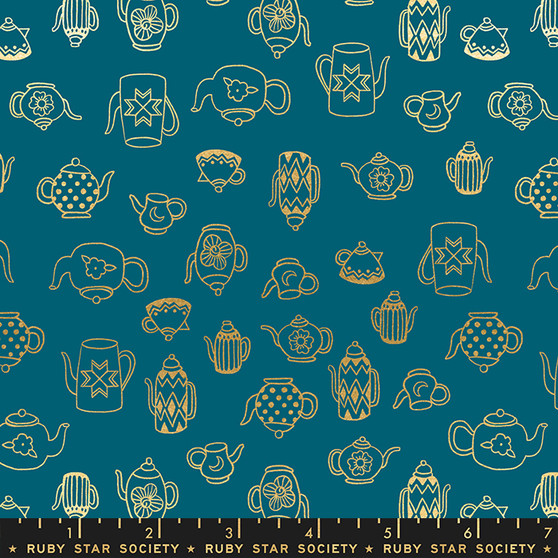 RUBY STAR SOCIETY, Purl TEA TIME in Teal Gold Metallic - ELEGANTE VIRGULE CANADA, CANADIAN FABRIC SHOP, QUILTING COTTON