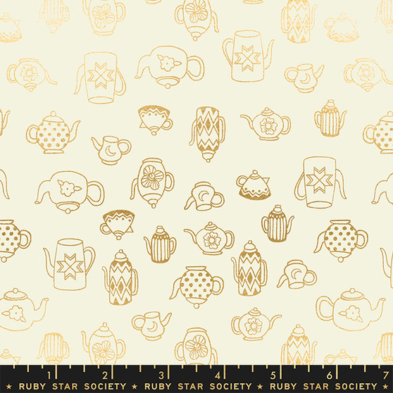 RUBY STAR SOCIETY, Purl TEA TIME in Shell Gold Metallic - ELEGANTE VIRGULE CANADA, CANADIAN FABRIC SHOP, QUILTING COTTON