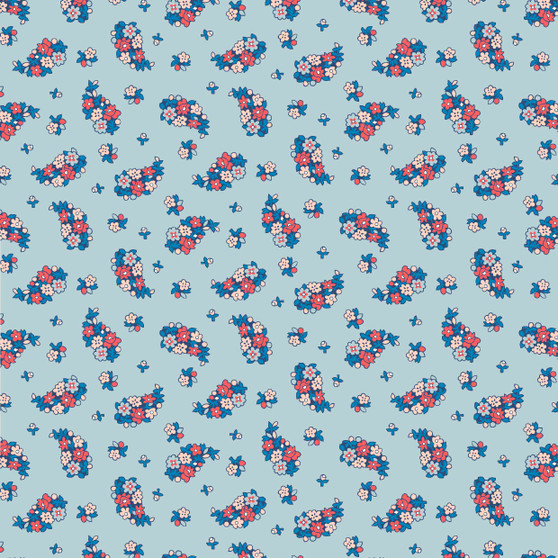LIBERTY FABRICS, CARNABY COLLECTION Retro Indigo - Portobello Paisley  A Sky Blue - by the half-meter - ELEGANTE VIRGULE CANADA, Canadian Quilting Shop - Liberty of London, Quilting Cotton