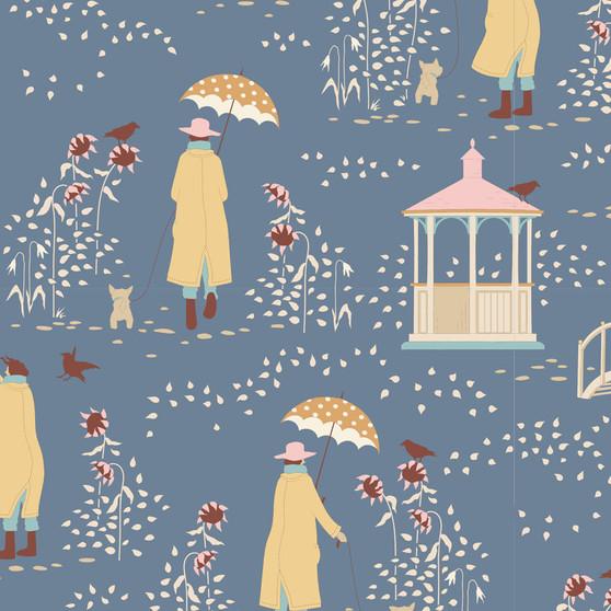 TILDA WINDY DAYS Windy Walk in Blue - Elegante Virgule Canada, Quilting Cotton, Montreal Quebec Quilt Shop