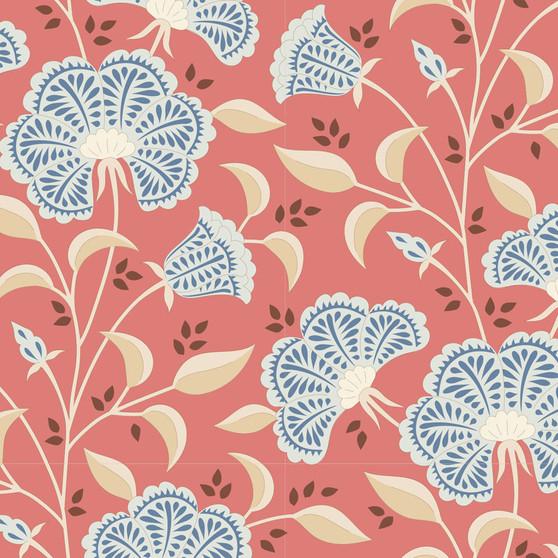 TILDA WINDY DAYS Stormy in Coral - Elegante Virgule Canada, Quilting Cotton, Montreal Quebec Quilt Shop