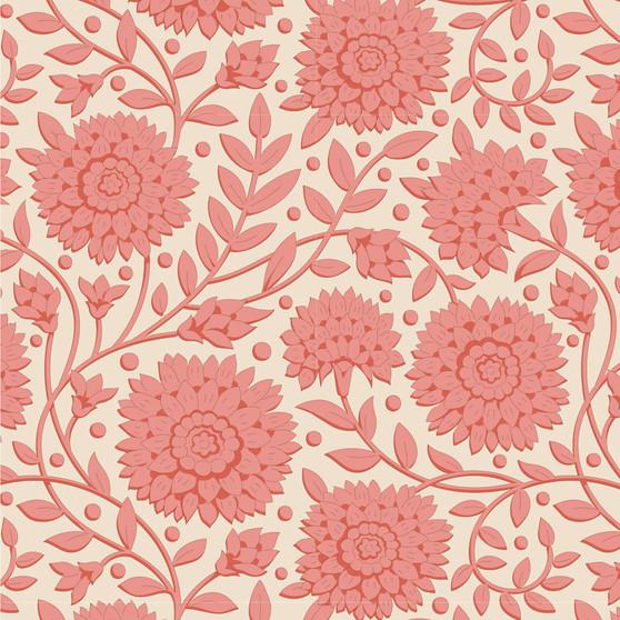 TILDA WINDY DAYS Aella in Coral - Elegante Virgule Canada, Quilting Cotton, Montreal Quebec Quilt Shop