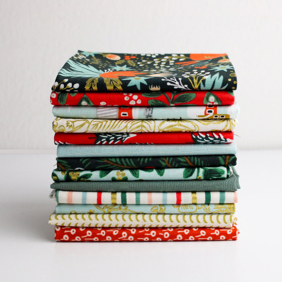 RIFLE PAPER CO x TILDA x CLOUD 9, Holiday Classics - FQ Bundle of 13 fabrics  -  ELEGANTE VIRGULE CANADA, CANADIAN FABRIC QUILT SHOP, Quilting Cotton