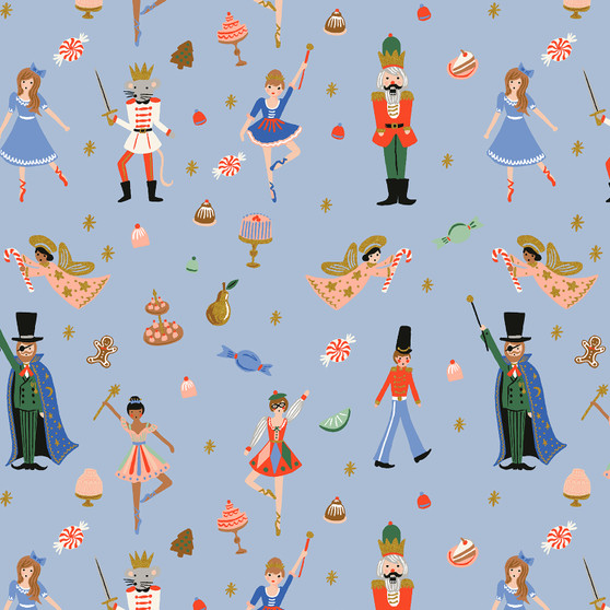 RIFLE PAPER CO HOLIDAY CLASSICS, Land of Sweets in Powder Blue Metallic - by the half-meter - by the half-meter - Elegante Virgule Canada, Canadian Fabric Quilt Shop, Quilting Cotton