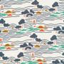 CLOUD 9, GOOD VIBRATIONS - Landline,  100% ORGANIC Cotton - by the half-meter, ELEGANTE VIRGULE, CANADIAN FABRIC SHOP