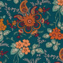 LIBERTY OF LONDON Quilting cotton, Fireside Z in Forest Green and Orange - ELEGANTE VIRGULE CANADA, Canadian Quilt Shop, Quilting cotton