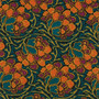 LIBERTY OF LONDON Quilting cotton, Dianthus Dreams Z in Dark Green and Orange - ELEGANTE VIRGULE CANADA, Canadian Quilt Shop, Quilting cotton