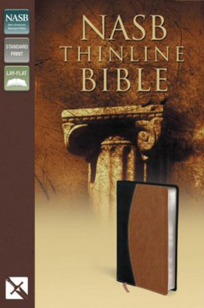 NASB Thinline Compact Bible - Black/Tan