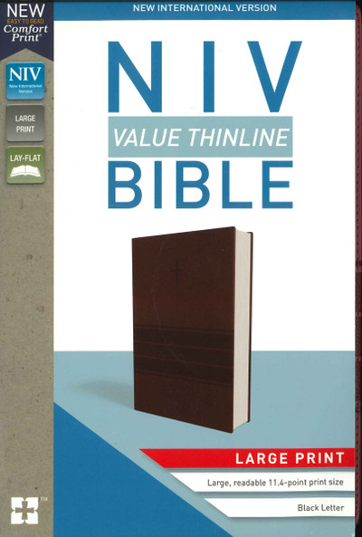 NIV, Value Thinline Bible, Large Print, Leathersoft, Burgundy, Comfort Print