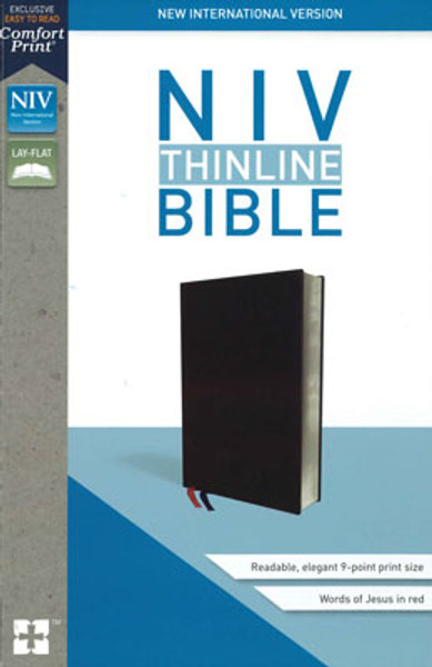 NIV, Thinline Bible, Bonded Leather, Black, Comfort Print
