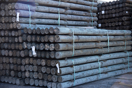 Treated round wood posts for fencing