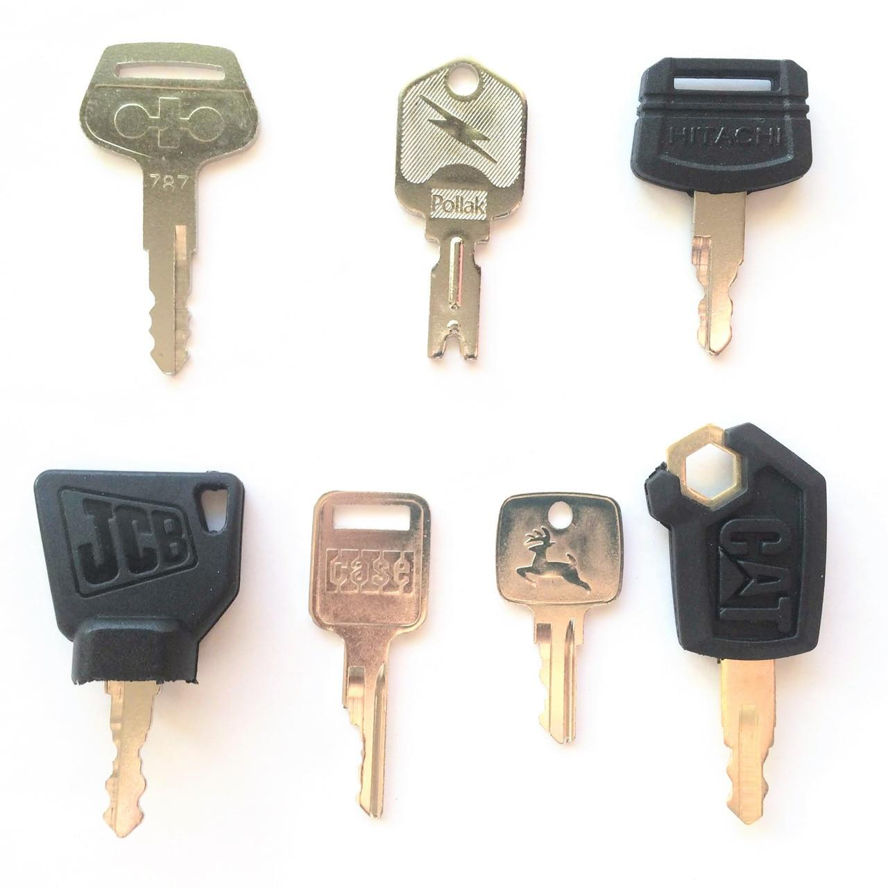 OEM Logo Heavy Equipment Key Set 7 Keys CAT Case JCB Deere Hitachi Pollak Komatsu