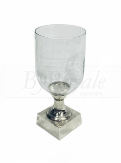 Clear/Silver Candle Holder Med