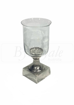 Clear/Silver Candle Holder Sml
