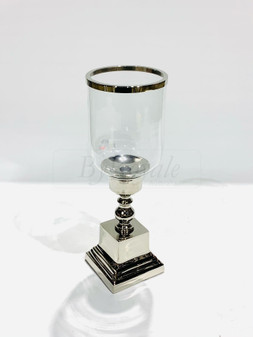 Silver/Glass Candle Holder Med