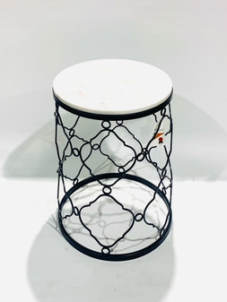 Round Marble/Black Side Table Sml