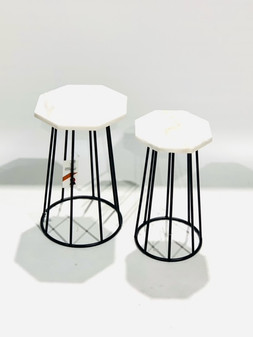Set of 2 Marble Table Hx