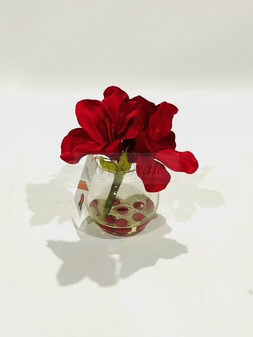 Red Flowers In Glass