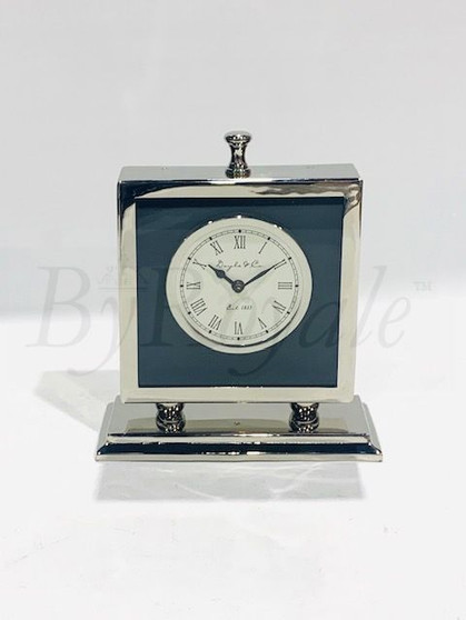 Silver/Black Table Clock Med