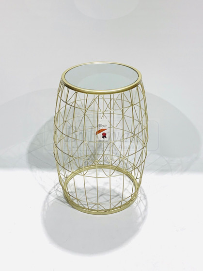 Round Mirror Side Table Sml