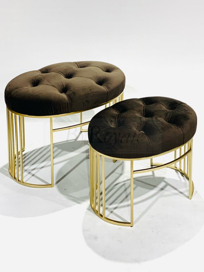 Brown/Gold Oval Tufted Stool