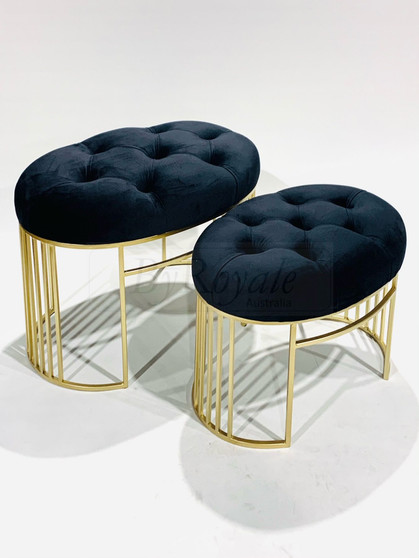 Black/Gold Tufted Oval Stool