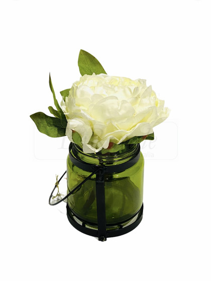 White Peony  In Glass