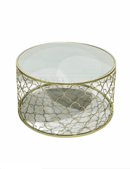 Round Mirror Gold Coffee Table Sml