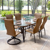 Empire Outdoor Wicker Mixed 7 Piece High Back Dining Set (Lifestyle View)