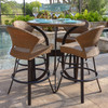 Empire Outdoor Wicker 5 Piece Curved Counter Height Set (Lifestyle View)