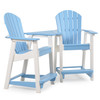 Oceanside Outdoor Poly Lumber Adirondack Counter Height Settee with Table
