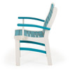 Bayshore Outdoor Dining Arm Chair White with Turquoise Accents