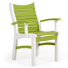 Bayshore Outdoor Dining Arm Chair White with Green Accents