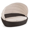 Kokomo Outdoor Wicker Day Chaise With Canopy (Tortoise Shell)