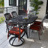 Charleston Outdoor Cast Aluminum 7 Piece Oval Dining Set (Lifestyle View)